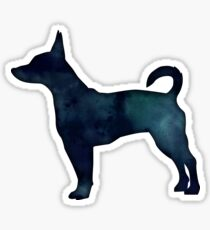 Rat Terrier Black Watercolor Silhouette Sticker