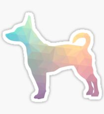 Rat Terrier Dog Colorful Geometric Pattern Silhouette - Pastel Sticker
