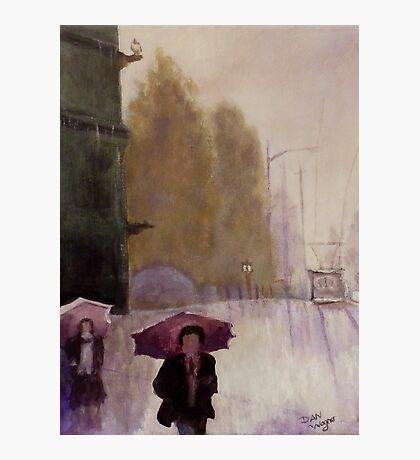 Walking in the rain Photographic Print