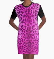 Pink Leopard Graphic T-Shirt Dress