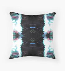 Black White Blue Pink Abstract Throw Pillow