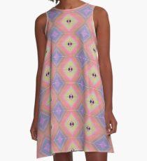 Pink Blue Yellow Diamond Pattern A-Line Dress