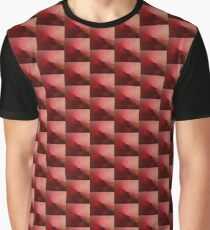 Red Tiles Squares Asymmetrical Pattern Graphic T-Shirt