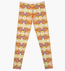 Orange Blue Purple Symmetrical Abstract Design Leggings