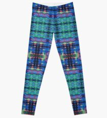 Blue Green Abstract Squares Mandala Leggings
