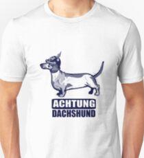 Achtung Dachshund blue T-Shirt