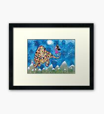 Missy and Elephant fly to the Moon Framed Print