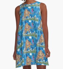 Missy and Elephant fly to the Moon A-Line Dress
