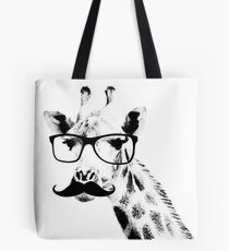 Giraffe with beard and glasses Tote Bag