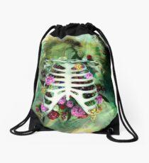 Bones and Flowers Drawstring Bag