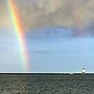 Rainbow and Conneaut Lighthouse by Kenneth Keifer