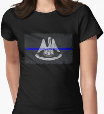 Louisiana Thin Blue Line State Flag Women's Fitted T-Shirt