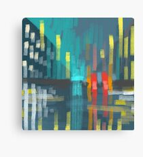 rain and city lights Canvas Print