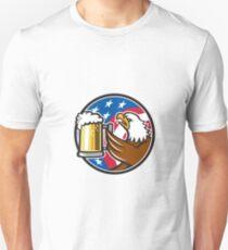 Bald Eagle Hoisting Beer Stein USA Flag Circle Retro T-Shirt