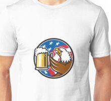 Bald Eagle Hoisting Beer Stein USA Flag Circle Retro Unisex T-Shirt