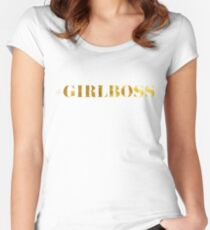 #GIRLBOSS Faux Gold Bold Typography Women's Fitted Scoop T-Shirt
