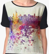 Chicago skyline in watercolor background Chiffon Top
