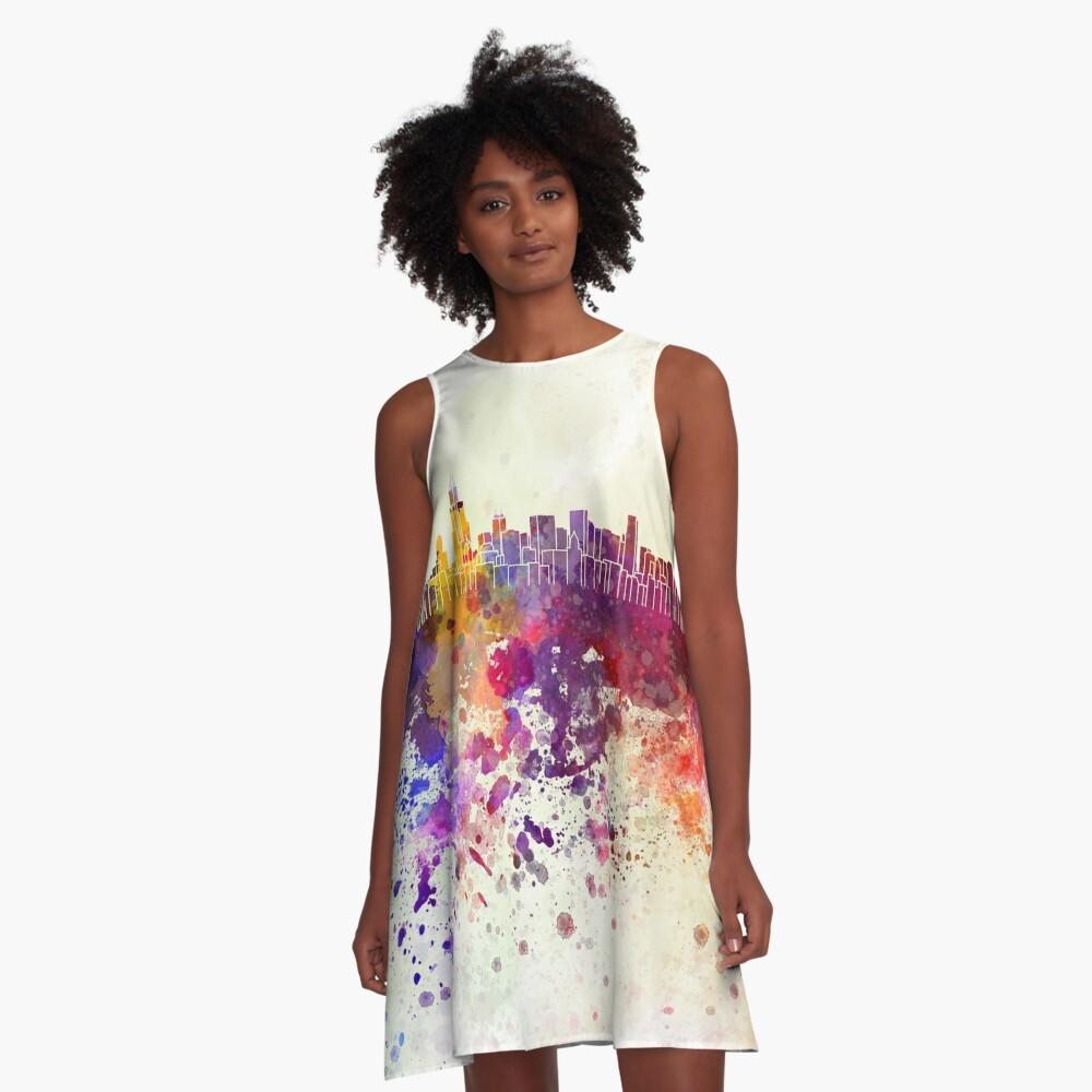 Chicago-Skyline im Aquarellhintergrund A-Linien Kleid