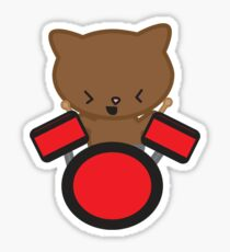 Kawaii Drummer Cat Sticker