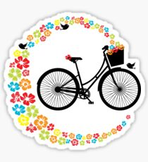 Vintage Cycling Pretty Retro Ladies Bike Flowers Sticker
