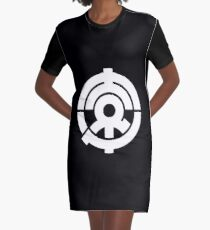 ToukuFM Logo - Circle, White Graphic T-Shirt Dress