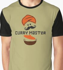 Funny Curry Master Indian Restaurant Chef Turban and Moustache Graphic T-Shirt