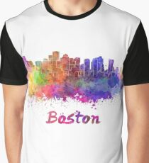 Boston skyline in watercolor Graphic T-Shirt