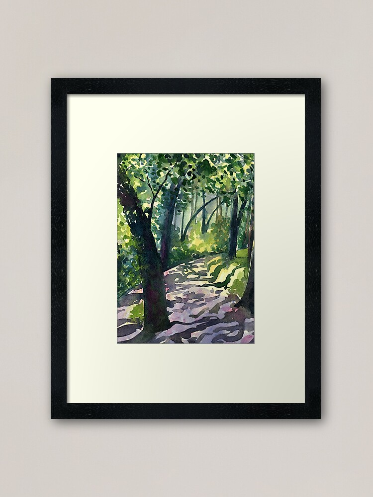 Alternate view of Path into the trees - Descanso Gardens - Original impressionist watercolour landscape by Francesca Whetnall Framed Art Print