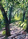 Path into the trees - Descanso Gardens - Original impressionist watercolour landscape by Francesca Whetnall by Cecca-Designs