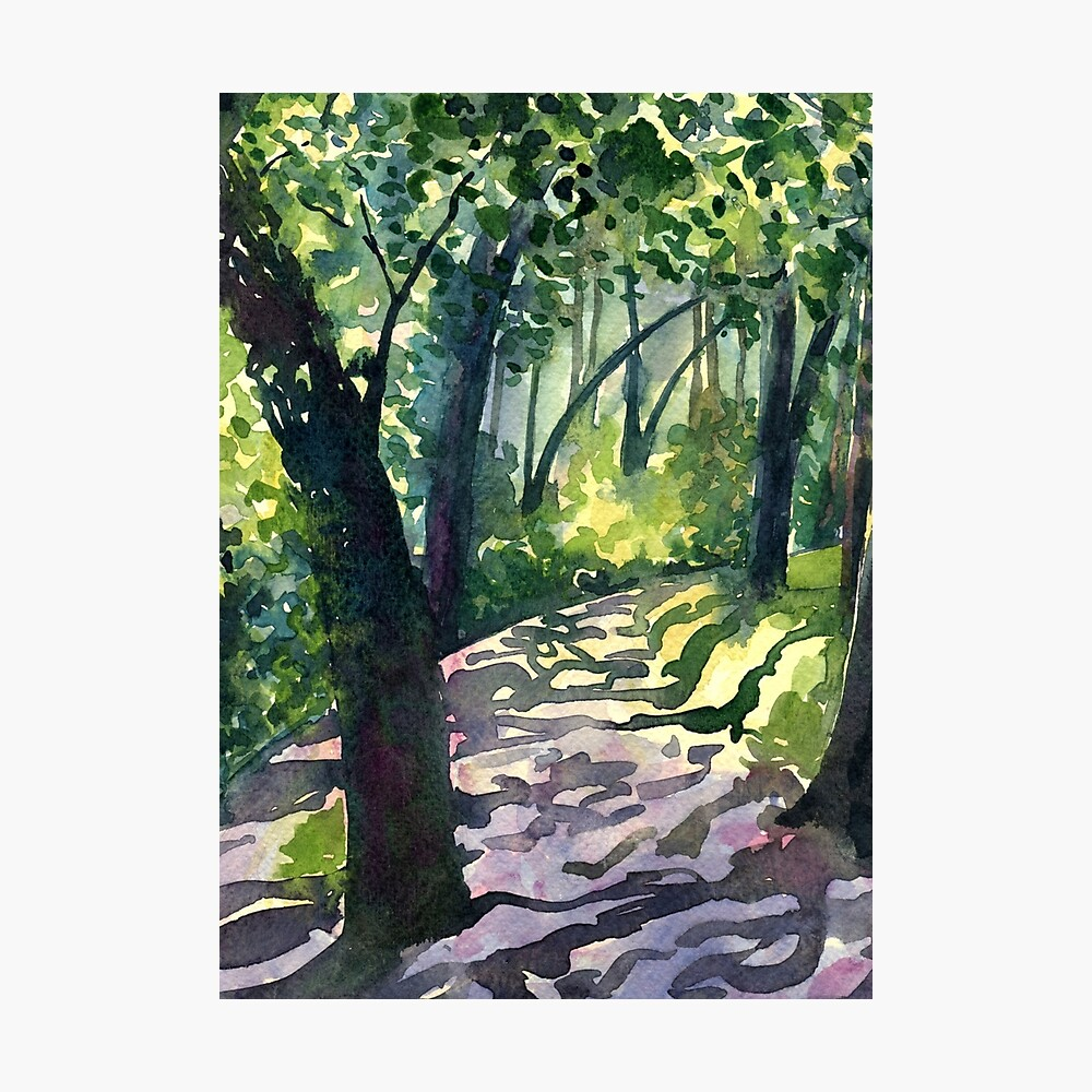 Path into the trees - Descanso Gardens - Original impressionist watercolour landscape by Francesca Whetnall Photographic Print