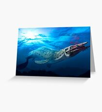 Mosasaur With Prey Greeting Card