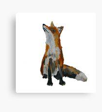 The Fox Woodland Wild Animal Contemporary Acrylic Painting White Edit Canvas Print
