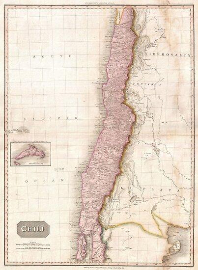 Vintage Map of Chile (1818) by BravuraMedia