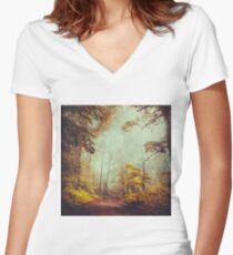 silent forest Women's Fitted V-Neck T-Shirt