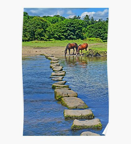 2 Horses at Famous Ogmore Stepping Stones (Wales) Poster