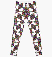 2d93ba9c9d Legging Triangular, prismático, fractales, teselación, en, blanco