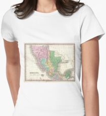 Vintage Map of Mexico (1827) Women's Fitted T-Shirt