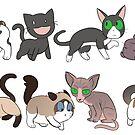 8 Sad Cat Stickers by Mel Albino