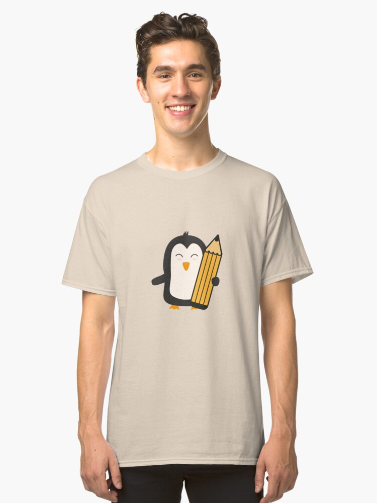 Penguin with pen   Classic T-Shirt Front