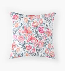 Coral and Grey Candy Striped Crayon Floral Throw Pillow
