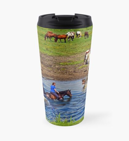 Horse riding in a river, near Ogmore Castle, Wales Travel Mug