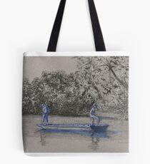 Blue boys fishing Tote Bag