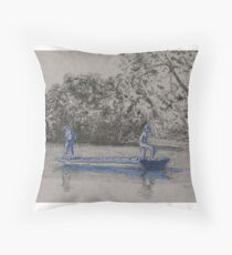 Blue boys fishing Throw Pillow