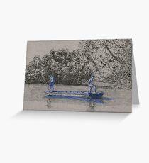 Blue boys fishing Greeting Card