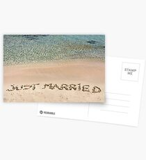 Just Married written in sand on a beautiful beach Postcards