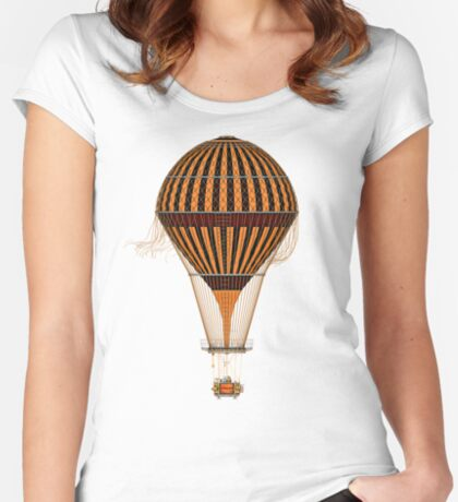 Elegant Steampunk Vintage Hot Air Balloon Steampunk T-Shirts Fitted Scoop T-Shirt