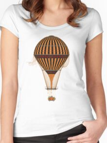 Elegant Steampunk Vintage Hot Air Balloon Women's Fitted Scoop T-Shirt