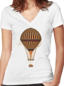 Elegant Steampunk Vintage Hot Air Balloon Women's Fitted V-Neck T-Shirt