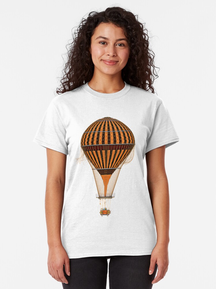Alternate view of Elegant Steampunk Vintage Hot Air Balloon Steampunk T-Shirts Classic T-Shirt