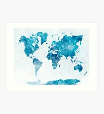 World map in watercolor  Art Print